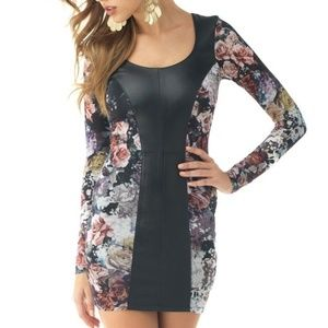 Sky $308 Black Leather Bodycon Cutout Floral Mini